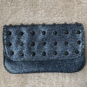 Sequenced black studded clutch!